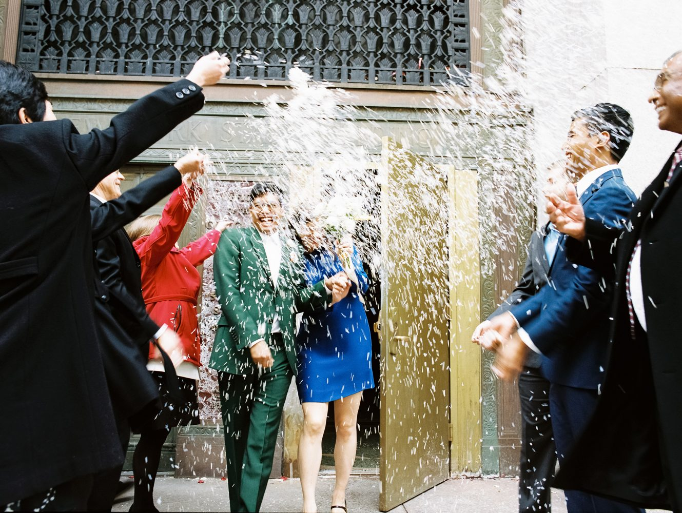 Bride and Groom NYC City Hall confetti ONONA New York wedding photographer film
