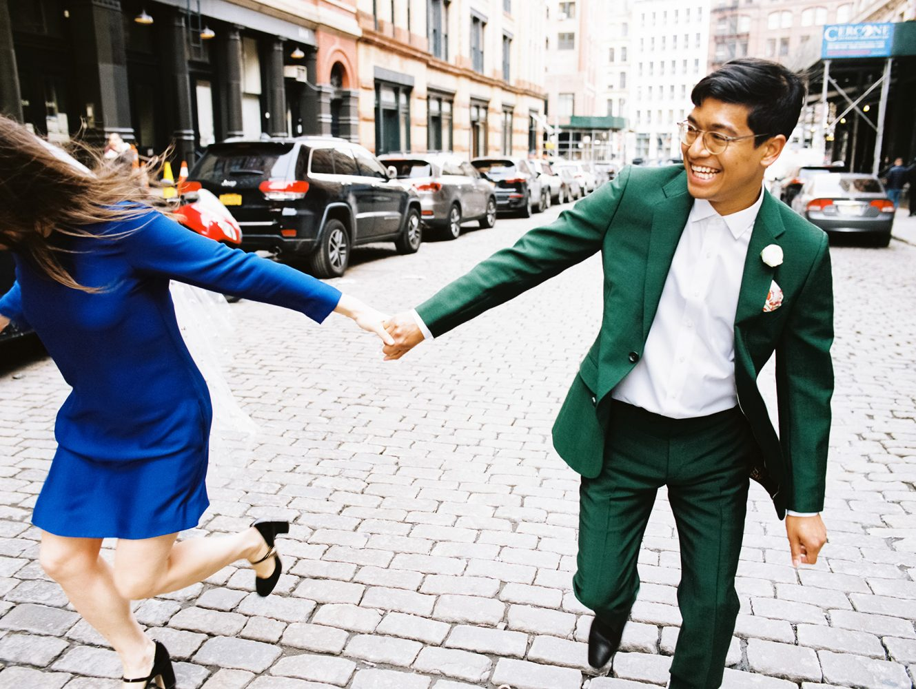 Bride and Groom running laughing ONONA New York wedding photographer film