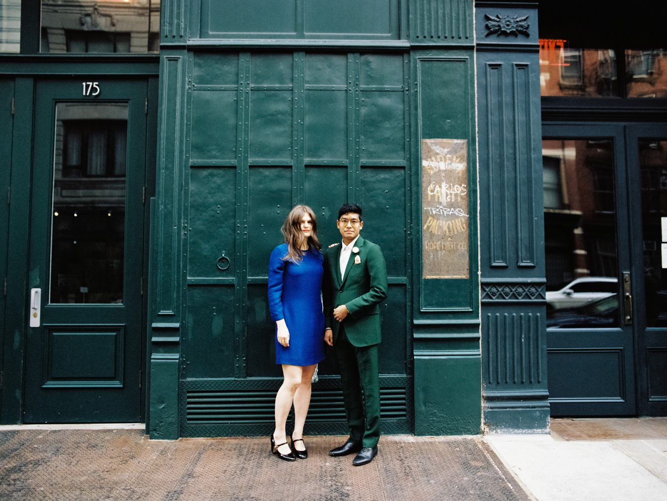 Bride and Groom wearing Celine and Gucci ONONA New York wedding photographer film