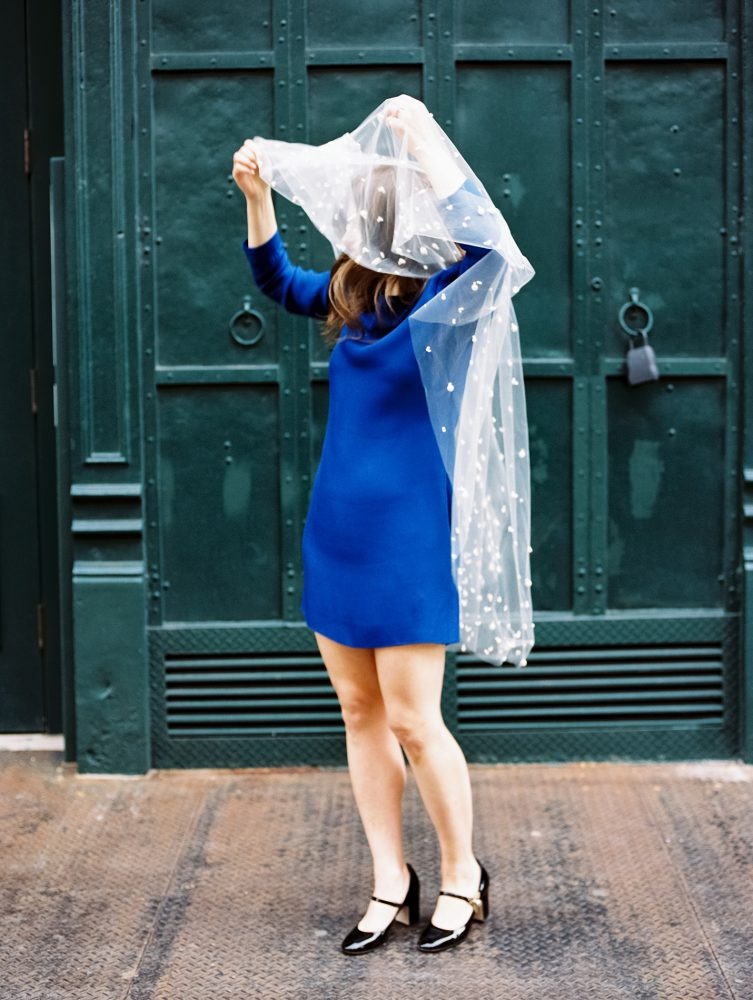 Bride in blue Celine dress with veil ONONA film New York wedding photographer