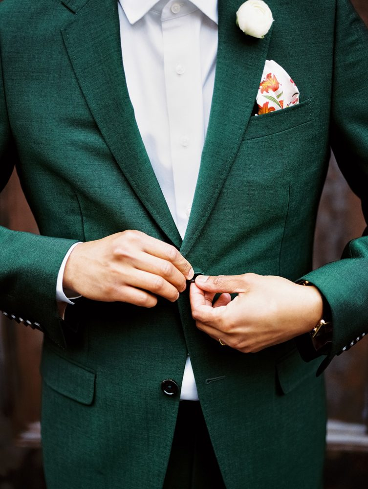 Groom Gucci buttoning suit ONONA New York wedding photographer film