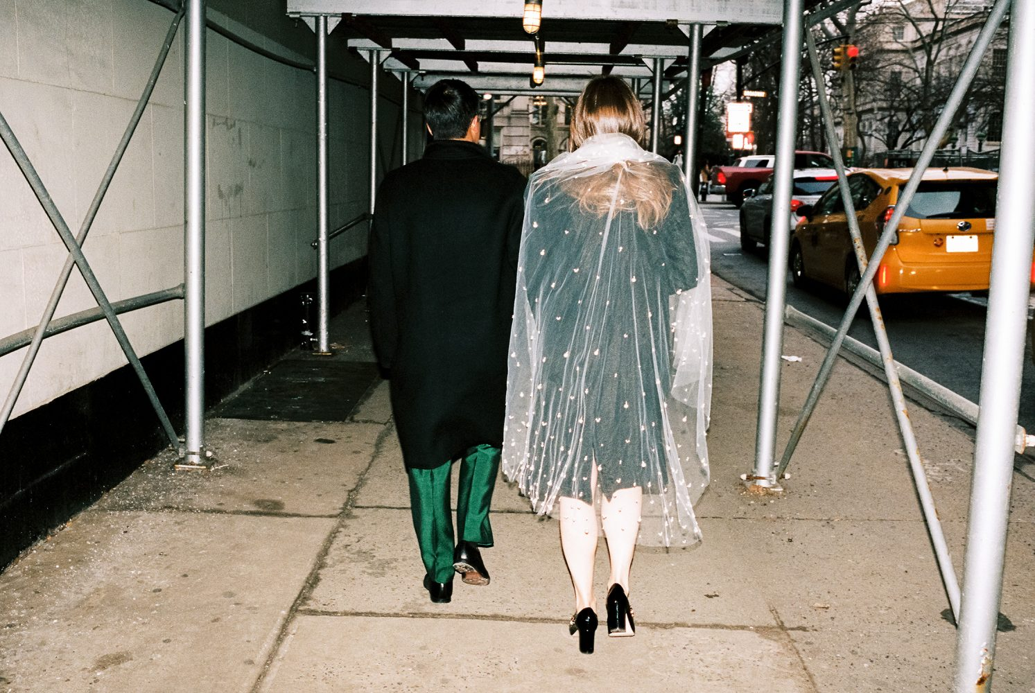 bride and groom walking in NYC ONONA New York wedding photographer film