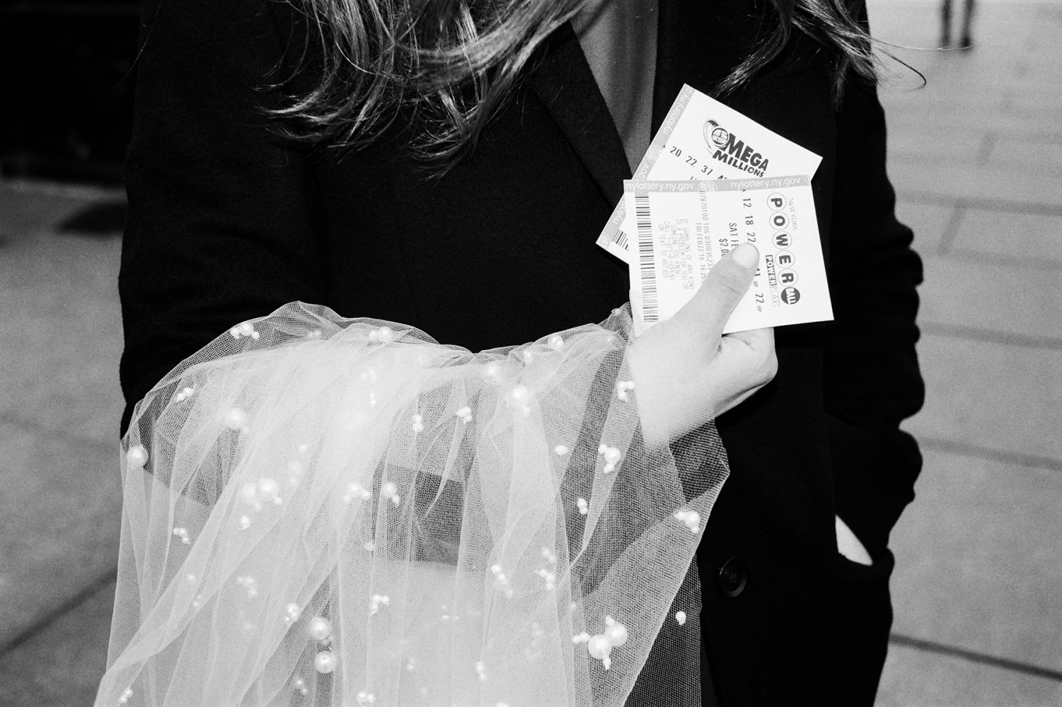bride with powerball ticket ONONA New York wedding photographer film