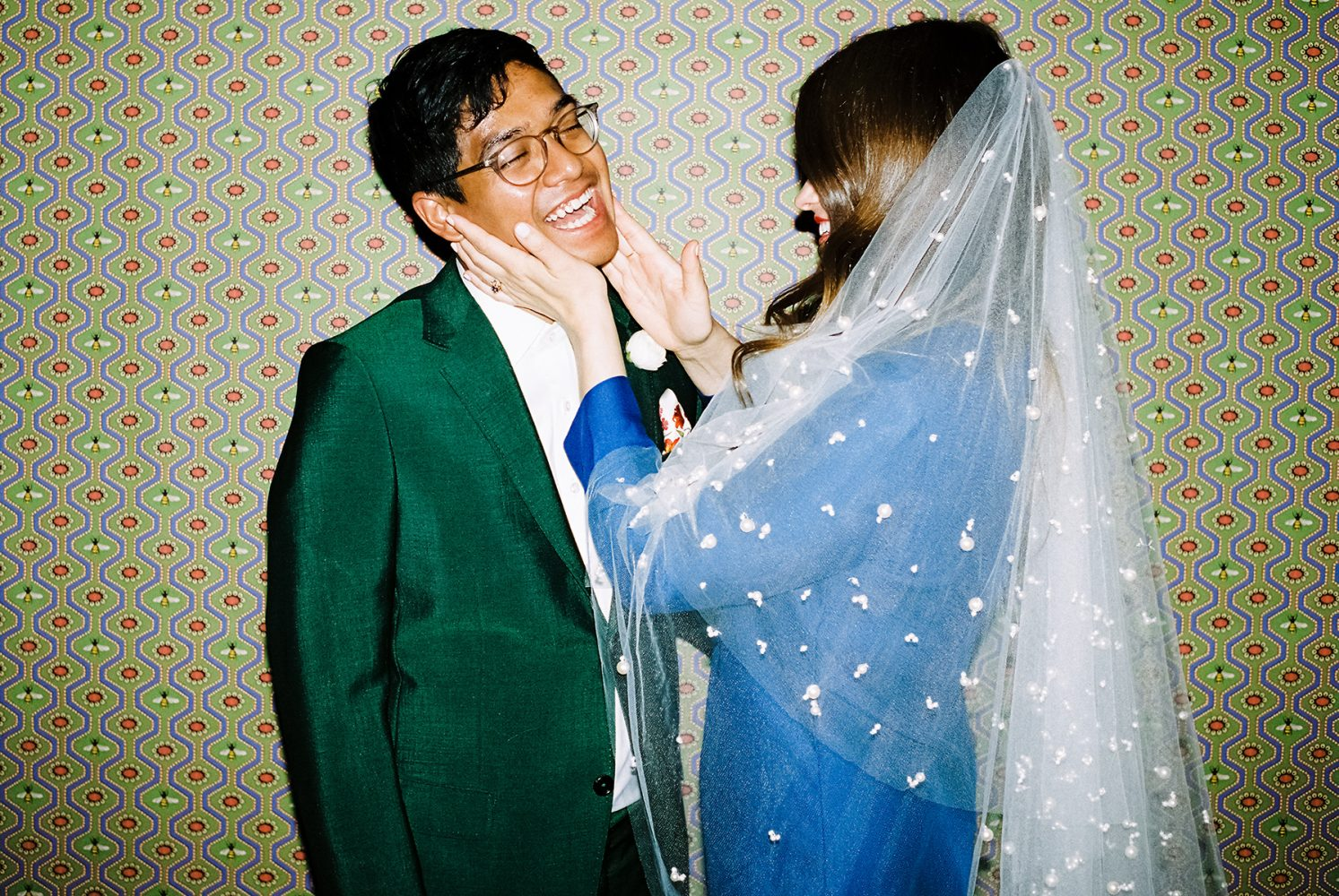 bride, groom and Gucci wallpaper ONONA New York wedding photographer film
