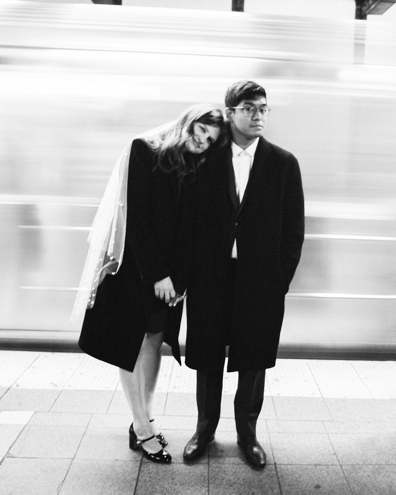 Bride and Groom MTA subway portrait ONONA New York wedding photographer film