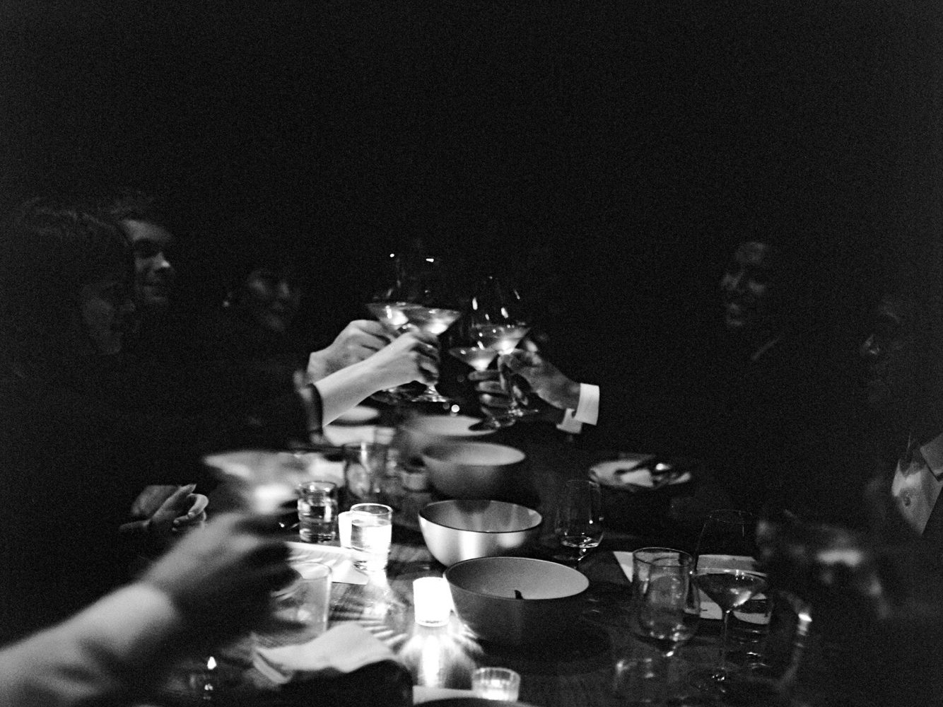 elopement dinner cheers at Cosme NYC ONONA New York wedding photographer film