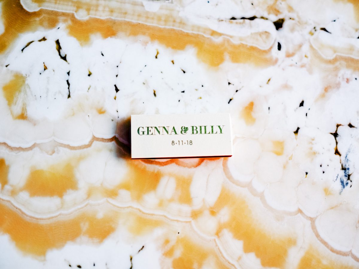 Genna & Billy's wedding custom match boxes at Bar Lurcat, Minneapolis ONONA Minneapolis wedding photographer