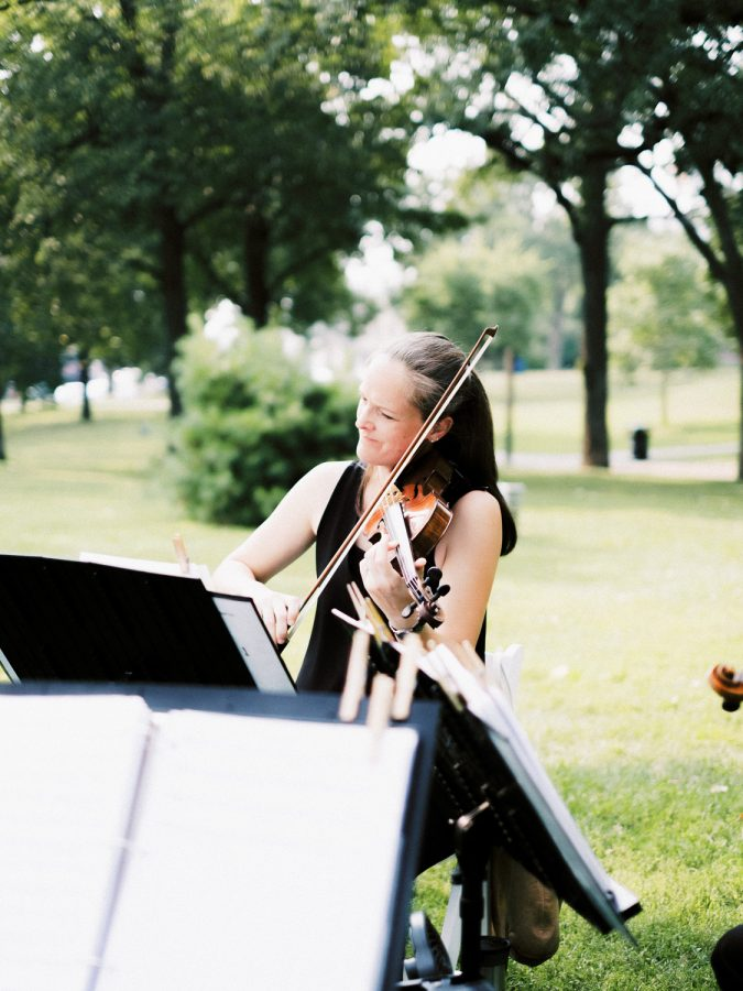 violin in ceremony in Loring Park, Minneapolis, wedding at Bar Lurcat, Minneapolis | ONONA Minneapolis film wedding photographer