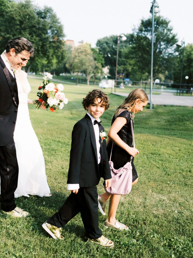 walking through Loring Park after wedding ceremony, Minneapolis, wedding at Bar Lurcat, Minneapolis | ONONA Minneapolis film wedding photographer